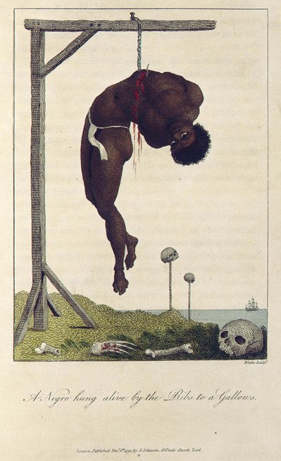 A Negro Hung Alive by the Ribs to a Gallows, 1796. Courtesy Blake Archives